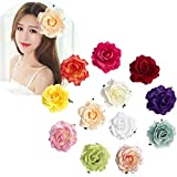 12Pcs Elegant Rose Flower Hair Clips Floral Brooches Pin Hair Assesories For Women Girls Lady