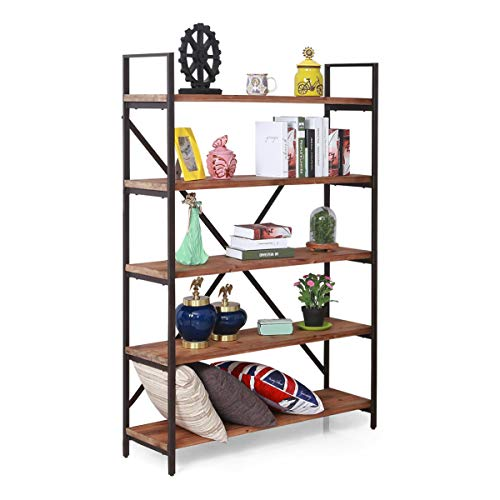 "Care Royal Vintage 5-Tier Open Back Bookshelf, Industrial 69.5""H Storage Bookcase, Decor Display Shelf, Living Room, Home Office, Bedroom, Natural Solid Reclaimed Wood, Sturdy Rustic Brown Metal Frame"