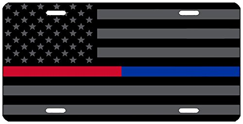 Thin Blue Red Line Lives Matter Flag License Plate Novelty Auto Car Tag Vanity Gift For Police Officer Firefighter PD FD (Fire Police License Plate)