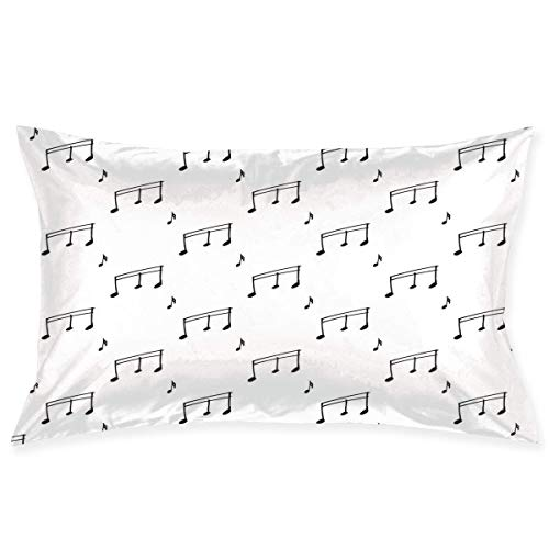 xiaodengyeluwd Pillow Sham,Musical Notes Theme Melody Sonata Singing Song Clef Tunes Hand Drawn Style Pattern,Decorative Standard Queen Size Printed Pillowcase 30 X 20 Inches,Pillow Cushion ()