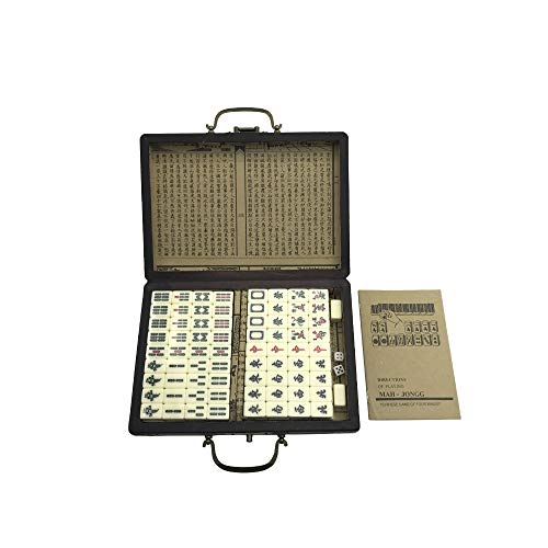 ZEYUGTIW Mini Toy Antique Mahjong Games Entertainment with English Instruction Four Wind Board Game Wooden Box Majiang