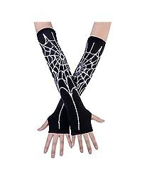 JISEN Black Punk Gothic Rock Knitted Soft Arm Warmer Fingerless Gloves Spider Net