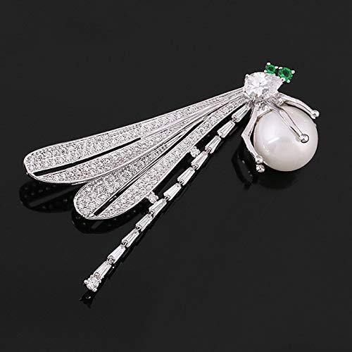 - Pave Setting Cubic Green Eye Dragonfly Zircon Brooch Pins in White Gold Color Plated