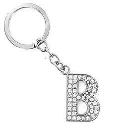 Novelty Key Ring Trinket, Palarn Keyring A-Z Initials Letter Shiny Silver Key Chain (B)