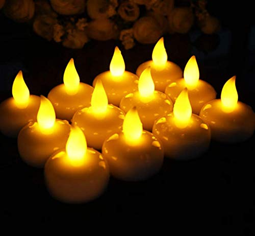 Micchow 24 Pack Novelty Candles Waterproof Flameless Floating Tealights, Battery Operated Floating LED Tea Lights Candles Flickering Yellow - Wedding, Party, Centerpiece, Pool & SPA by Micchow (Image #2)