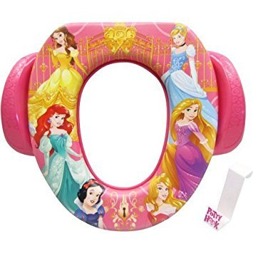 (Toddler Girls Soft Potty Seat with hook - Princess Belle, Cinderella, Aurora Wishes & Dreams (pink))
