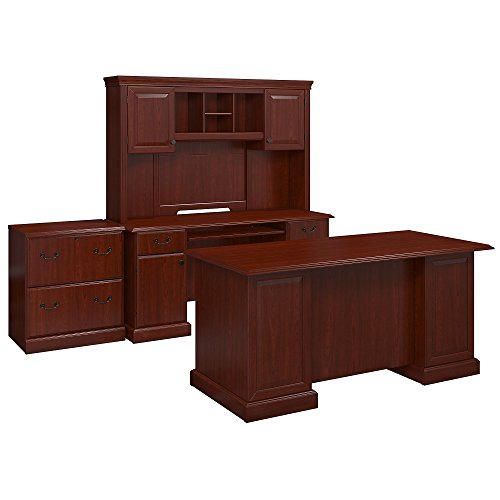 kathy ireland Office by Bush Furniture Bennington Executive Desk, Credenza with Hutch and Lateral File in Harvest Cherry