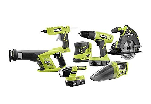 RYOBI P1909 18-Volt ONE+ Cordless Lithium-Ion Combo Kit (7-Tool) with (2)  1 3 Ah Batteries, Charger and Bag