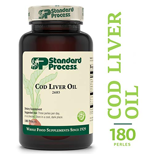 Standard Process - Cod Liver Oil - Vitamin A and D Supplement, DHA and EPA Omega-3 Fatty Acids, Supports Bone, Tooth, Eye, and Immune System Response, Gluten Free - 180 Perles