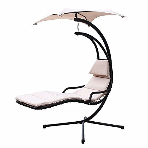 Generic QYUS416021529181594 Arc Stand Air Porch nging C Chaise Lounger Chair NEW Han NEW Hanging ounger Chair Canopy Color:Random :Random Swing Hammock nopy Color:Random