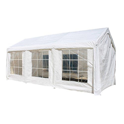 (ALEKO CPWT1020 Outdoor Event Gazebo Canopy Tent with Sidewalls and Windows 10 x 20 x 8 Feet White)