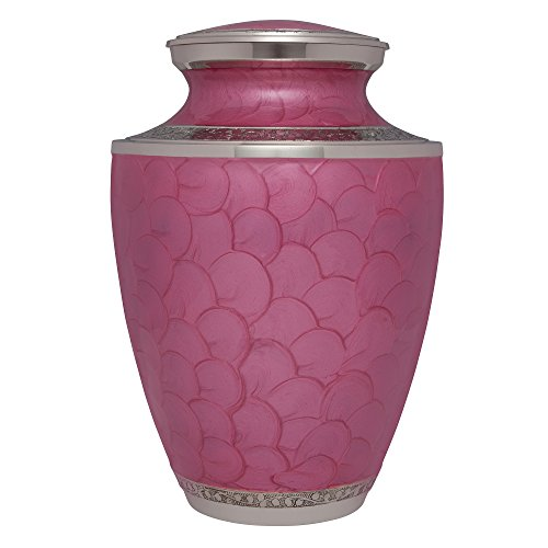 Pink Funeral Urn by Liliane Memorials - Cremation Urn for Human Ashes - Hand Made in Brass - Suitable for Cemetery Burial or Niche - Large Size fits remains of Adults up to 200 lbs - Petals Pink Model