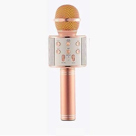 Lxxzz Micrófono Inalámbrico Micrófono De Condensador Micrófono Tarjeta De Sonido En Vivo Teléfono Móvil K Canción Treasure Micrófono Bluetooth Cambio De Voz,Oro: Amazon.es: Hogar
