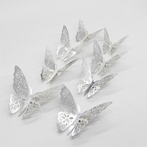(YJYdada 12PCS Butterfly Silver Mirror Decoration Home Room Art 3D DIY Wall Stickers (Silver))