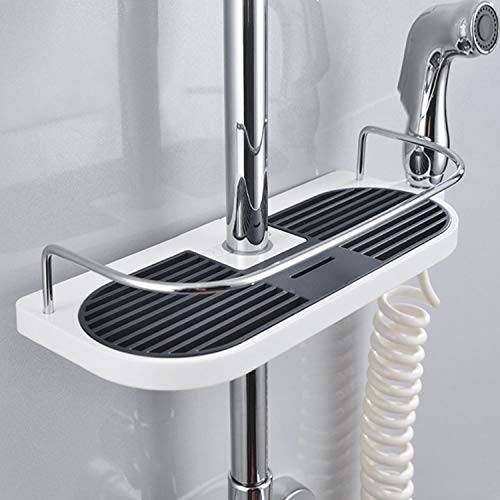 Qukueoy Adjustable Shower Caddy Over The Shower Bar No Drill No Rust Bathroom Shelf Organizer for Shower Head,Shampoo,Soap Holder,Fit Telescopic Pole 18-25mm