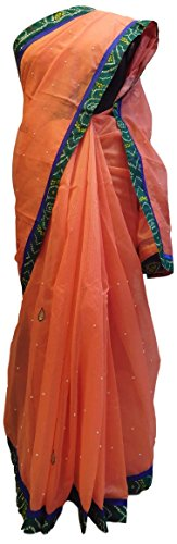 gner Hand Embroidery Supernet Saree Free Size Peach (Hand Embroidery Sarees)