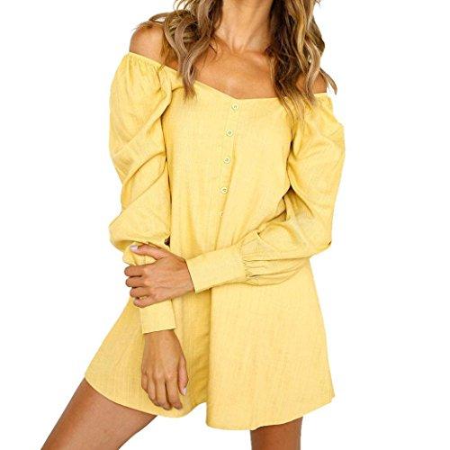 iOPQO Dress for Womens, Ladies Long Loose Button Short Mini Dress (S-L2) -
