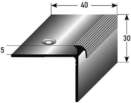 50 metros (50 x 1 m) - Perfil de escalera / Perfil angular (40 x 37 x 2 mm) aluminio anodizado, perforado: Amazon.es: Hogar