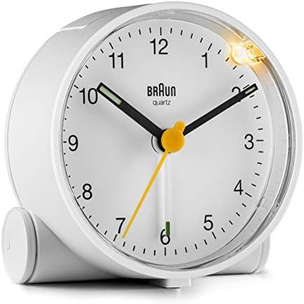 Braun Classic Analogue Alarm Clock with Snooze and Light, Quiet Quartz Movement, Crescendo Beep Alarm in White, Model BC01W.