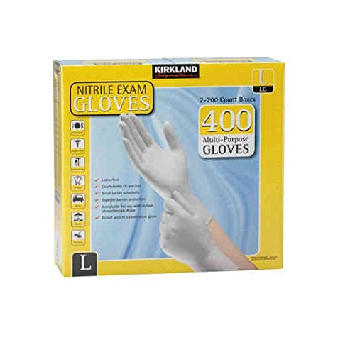 Kirkland Signature Nitrile Exam Multi-Purpose Large Gloves Latex-free 200-Count , 2-Pack (Total 400-Count Gloves)