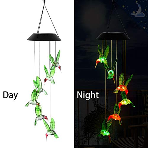 OFNMY Wind Chimes, Solar String Lights, Hummingbird Solar Mobile Wind Chimes with Color-Changing LED Hanging Lamp Windchime Light Bird Wind Chimes for Outdoor Indoor Home Yard Garden Decoration (String Lights Solar Hummingbird)