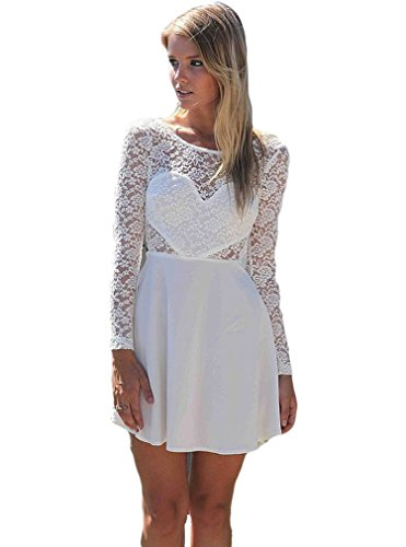 OURS Women's Lace Bow Backless Love Heart Party Short Dress (M, White)