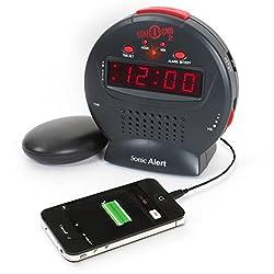 Sonic Alert Cool Alarm Clock, Bomb Jr Digital Home Bedside Small Loud Alarm Clock, Black