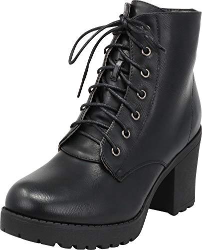 Cambridge Select Women's Combat Lace-Up Chunky Lug Sole Platform Block Heel Ankle Bootie,8 B(M) US,Black PU ()