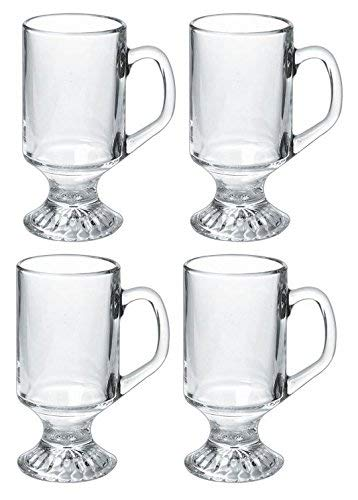Luminarc 9.75-ounce Irish Coffee Footed Mug, Clear, Set of 4