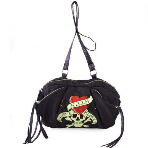 Ed Hardy Candace Love Kills Crossbody Bag – Purple, Bags Central