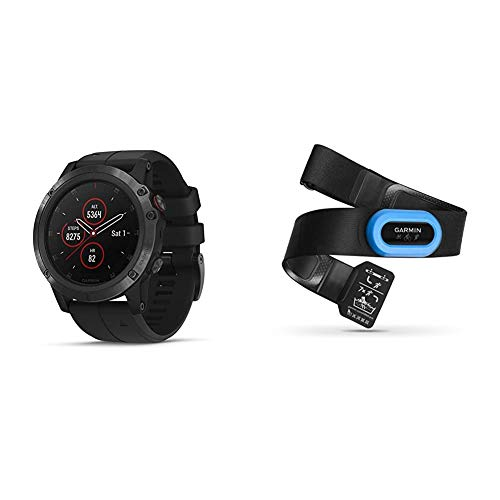 Garmin fēnix 5 Plus, Premium Multisport GPS Smartwatch, Features Color Topo Maps, Heart Rate Monitoring, Music and Pay, Black with Black Band & HRM-Tri Heart Rate Monitor