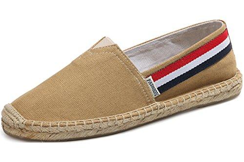 LaRosa Women's Fashion Casual Loafer Slip-On Espadrille Canvas Boat Flat Shoes(khaki,8.5 B(M))