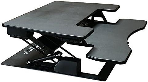 Fancierstudio Riser Desk Standing Desk Extra Wide 38 Fits Two Monitor Max Height 17.7 Work Stand Desk Computer Desk RD-01 BLK