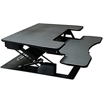 "Fancierstudio Riser Desk Standing Desk Extra Wide 38"" Fits Two Monitor Max Height 17.7"" Work Stand Desk Computer Desk RD-01 BLK"