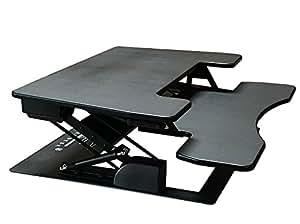 "Fancierstudio Riser Desk Standing Desk Extra Wide 38"" Fits Two Monitor Max Height 17.7"" Work Stand Desk Computer Desk RD-01 BLK"