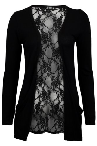 My1stWish Womens 78S Floral Lace Back Ladies Long Boyfriend Summer Cardigan Size 8/10 - Jacket Black Ladies