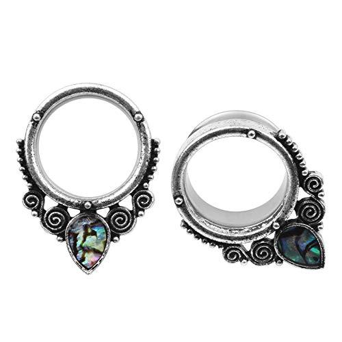 MissDaisy 4 Pieces Tunnel Stainless Steel Retro Ear Plugs Piercing Body Jewelry