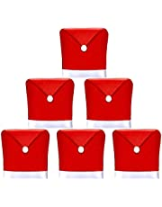 AMFOCUS Christmas Dining Chair Covers, Christmas Decoration Santa Hat Chair Back Covers Xams Chair Covers Caps Slipcovers Set of 6 for Christmas Holiday Festival Decoration
