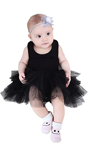 Infant Dress Tank Girls (STELLE Toddler/Baby Girl's Organic Cotton Tank Top Tutu Dress Leotard for Dance, Gymnastics and Ballet(Black, 70cm))