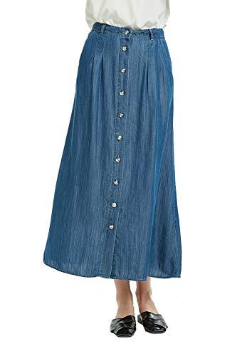 Tronjori Womens A Line Maxi Long Lightweight Tencel Denim Skirt with Button Front(XL, DK Blue Button Front)