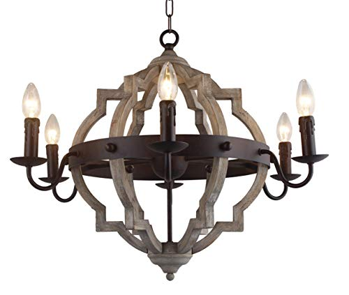 26 in. W. Transitional 6-Light Hall or Foyer Light Fixture Stardust Finish Wood Metal Chandelier Industrial Farmhouse Open Frame Wine Barrel Quatrefoil Wooden Chandelier (Wine Light Barrel)
