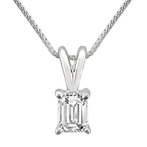- 14k White Gold Emerald-cut Diamond Solitaire Pendant Necklace (1/3 cttw, H-I, VS2-SI1)
