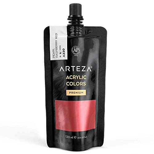 Arteza Metallic Acrylic Paint, Pearl Raspberry Red A220, 120 ml Pouch, Highly Pigmented & Fade-Resistant, Non-Toxic, for Artists, Hobby Painters & Kids