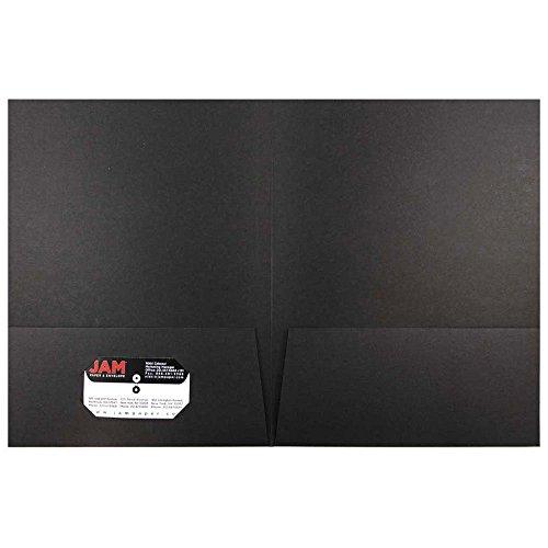JAM Paper Paper Two Pocket Presentation Folder - Black Linen - pack of 6 folders