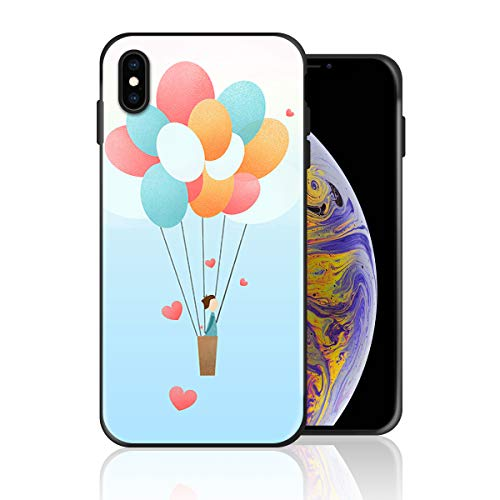 Silicone Case for iPhone XR, Proposal Man with Flower on The Hot Air Balloon Design Printed Phone Case Full Body Protection Shockproof Anti-Scratch Drop Protection Cover