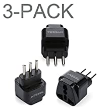 TESSAN Grounded Universal Travel Plug Adapter USA to Italy Travel Prong Converter Adapter Plug Kit for Italy (Type L) - 3 Pack