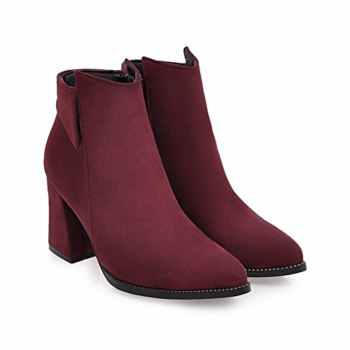 High Chunky Boots Zipper Dark Heel Women's Red Foot Ankle Charm Fashion qXHBZ