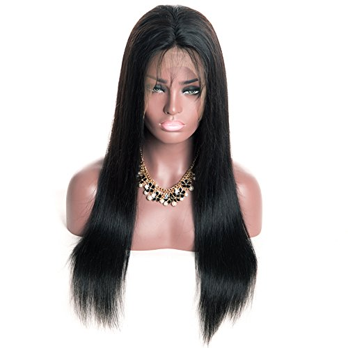 Coco's Hair 360 Lace Frontal Straight Human Hair Wigs Glueless 150% Density Brazilian Virgin Remy Wigs with Baby Hair Narutal Color 18 inch by Coco's Hair (Image #1)