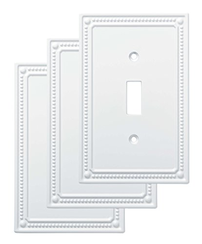 Franklin Brass W35058V-PW-C Classic Beaded Single Switch Wall Plate/Switch Plate/Cover (3 Pack), White ()