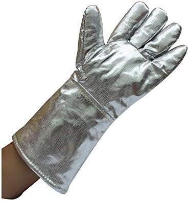 """労働保護作業用手袋 男女兼用の手袋のアルミニウム反焦げ付き防止の手袋のアルミホイルの産業等級の手袋、14.57"""" (Color : Silver, Size : L)"""